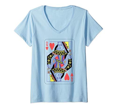 Mujer Disfraz de naipes, reina de corazones de Halloween Camiseta Cuello V