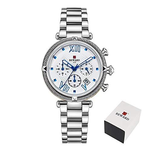 PULLEY - S Top marca de lujo relojes de mujer moda tira de acero reloj de cuarzo para 2020 señoras reloj S (color: caja plateada)