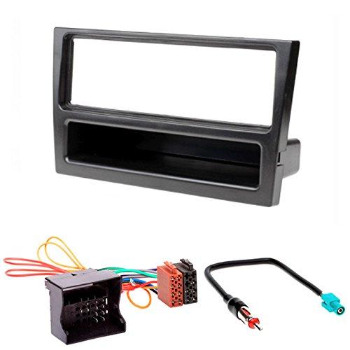 CARAV 11-027-24-7 Façade d'autoradio DIN Kit d'installation avec câble adaptateur ISO et antenne