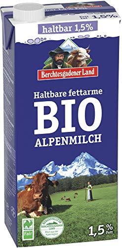 Berchtesgadener Land Bio Haltbare Bio-Alpenmilch, fettarm 1,5% Fett (6 x 1000 ml)