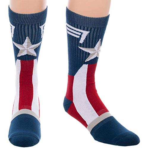Marvel Captain America Mens Socks Costume Stars And Stripes Crew Sock 1 Pair