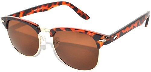 Retro Style Sunglasses Brown-Gold Half Frame Lens Brown Color Unisex