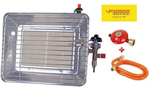Rothenberger IndustrialHeiz – Strahler - VERSION DEUTSCHLAND - Gasheizstrahler mit Piezo Zündung, betrieben mit Propan - Gas für 5 kg oder 11 kg Flaschen