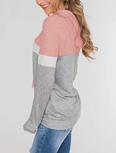 Minclouse Women's Long Sleeves Color Block Hoodies Cute Casual Blouses Drawstring Sweatshirts Pullover