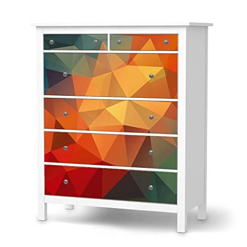 creatisto Möbelfolie passend für IKEA Hemnes Kommode 6 Schubladen I Möbeldeko - Möbel-Folie Tattoo Sticker I Wohn Deko Ideen für Wohnzimmer, Schlafzimmer - Design: Polygon