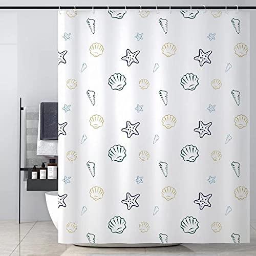Sosila Cortina de ducha antimoho, textil, impermeable, resistente al moho, impermeable, antibacteriana, lavable, 100 % poliéster, incluye anillos, gancho para cortina de ducha (concha, 120 x 200 cm)