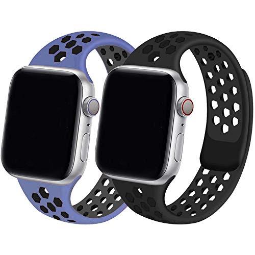 INZAKI 2-Pack Compatibile con Cinturino Apple Watch 42mm 44mm,Cinturino di Ricambio Sportivo in Silicone Traspirante per iWatch Serie 6/5/4/3/2/1,SE,Impermeabile,M/L,BB/RPB