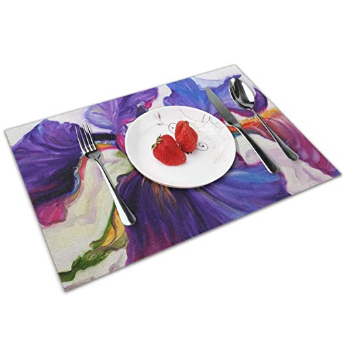 NWUIGE Purple Iris Art Placemats Set of 4 Polyester Placemat for Dining Table Heat Resistant Table Mats Wipe Clean
