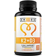 Vitamin D3 with K2 - Vitamin D3 4000 IU & Vitamin K2 100 UG - 120 High Strength Vitamin D3 K2 Capsules - 4 Month Supply - Cholecalciferol and MK7 - Supports Bone, Muscle Health and Immune System