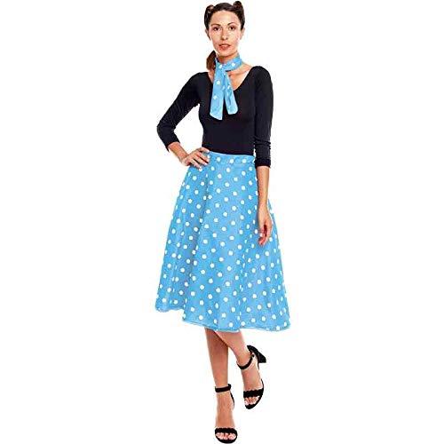 Falda Cincuentera Retro Lunares Mujer Azul Disfraz Dcada 50's