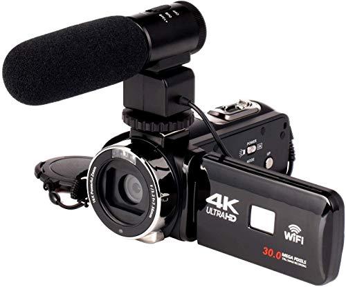 外部マイク/広角レンズ/ビデオライト、3インチ液晶ディスプレイ付きビデオカメラビデオカメラ、フルHD 4Kデ...