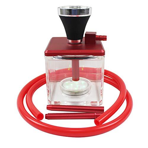 QqHAO Cachimba, Hookah acrílico Transparente Conjunto con luz LED Pipa de Agua Box Incluir silicio Manguera Shisha Pipe,Rojo