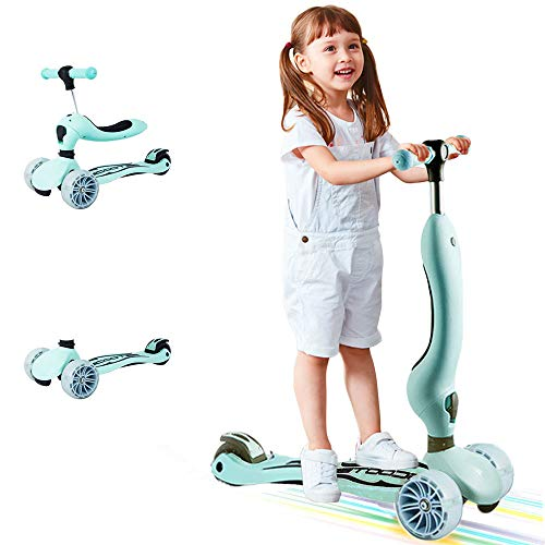 3-in-1 Kinderscooter & Laufrad & Skateboard, Kinderkickboard, Kinderroller mit Klappsitzen Abnehmbar und verstellbar, 3 Räder mit Licht, für Kinder ab 3 Jahre (Macaron-grün )