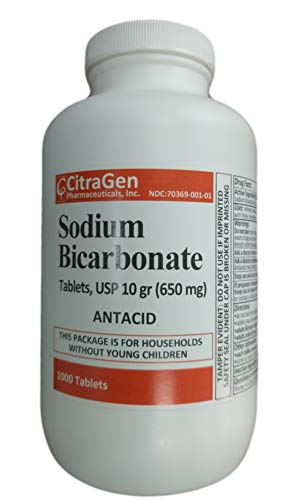 Sodium Bicarbonate Tablets USP 650 mg (10 Grains) for Relief of Acid Indigestion, Heartburn, Sour Stomach & Upset Stomach 1000 Tablets per Bottle by CitraGen Pharmaceuticals Inc