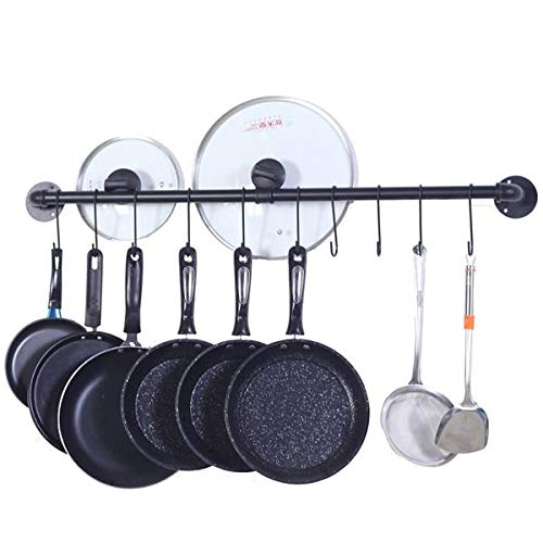 Hanging Pot Rack Wall Mounted, Detachable Rail Kitchen Utensils Pan Hanger with 10 Detachable S Hooks, Wall Mount With Screws, Black
