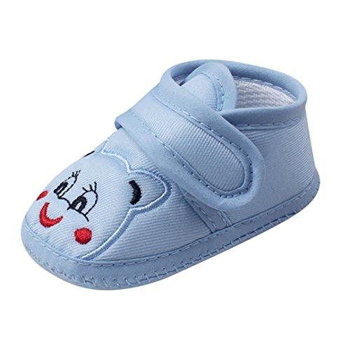 FNKDOR Baby Neugeborene Schuhe, Mädchen Jungen Klettverschluss Weiche rutschfest Lauflernschuh (0-6 Monate, Blau)