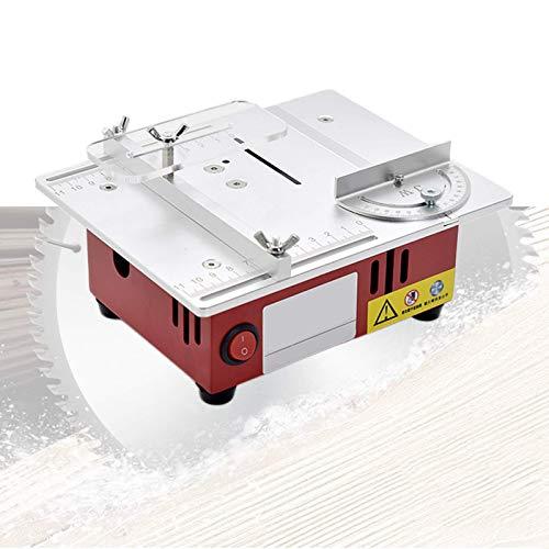 Sierra de mesa elevable, sierra de mesa portátil de 96 W con hoja de sierra circular y adaptador de corriente, velocidad variable 3000-9200 RPM, máx.Profundidad de corte 13 mm / 0,51 'para bricolaje