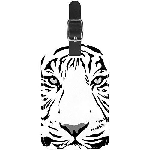 Etiquetas para equipaje con cara de tigre, color negro, blanco, de piel,...