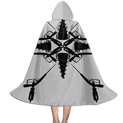 NUJSHF Adam Spritze und Big Daddy Bohrmuster Bioshock Unisex Kinder Kapuzenumhang Umhang Umhang Umhang Cape Halloween Party Dekoration Rolle Cosplay Kostüme Outwear