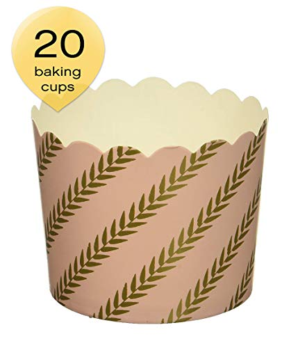 Simply Baked CLG-140 Large Paper Baking Cups, Pink Gold Leaf, 20-Pack, Disposable and Oven-safe