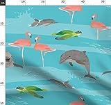 Delphin, Ozean, Flamingo, Schildkröte, Fisch, Meer, Tiere