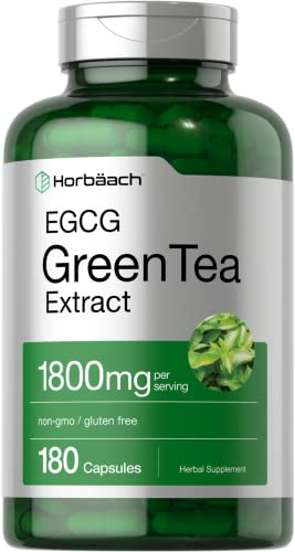 EGCG Green Tea Extract Pills | 1800 mg | 180 Capsules | Max Potency | Non-GMO & Gluten Free Supplement | by Horbaach