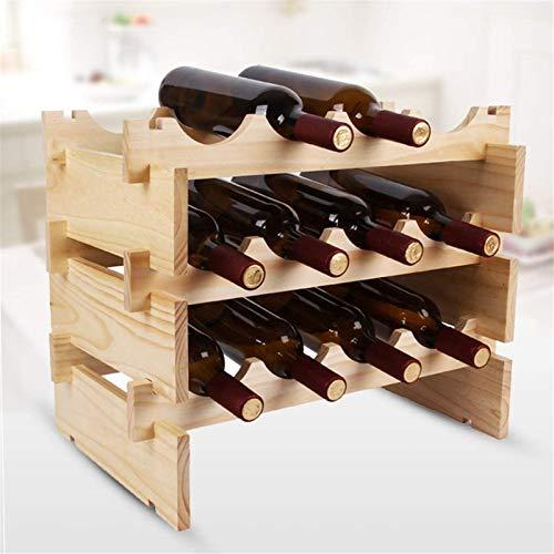 TUHFG Estantería de Vino Estante de Vino Tallador de Vino apilable de 3 Niveles -Wooden Gabinete de encimera de Vino Soporte de Almacenamiento Soporte de Almacenamiento - Libre de pie Bar, b