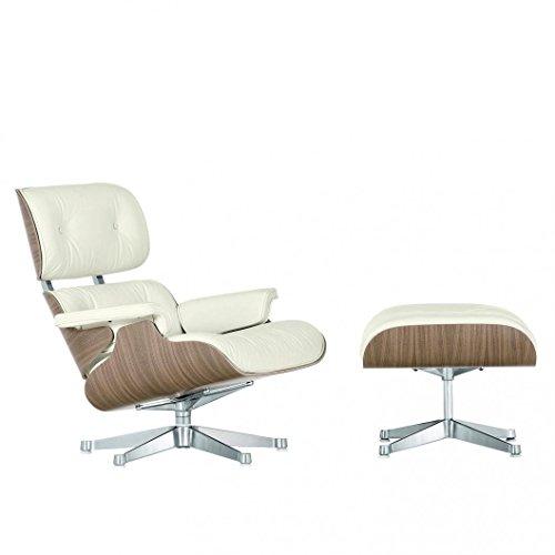 Vitra Eames Lounge Chair Drehsessel & Ottoman Neue Maße, Leder Premium Snow weiß Schale walnuss weiß pigm. Gestell poliert