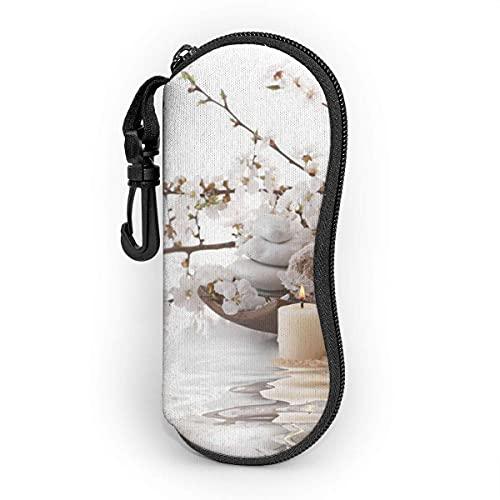 Funda de Gafas Belleza Hermoso Spa Sobre Agua Aromaterapia Zen Ultra Ligero Neopreno Suaves viaje Estuche para Gafas de caso Bolsa con Clip de Cinturón