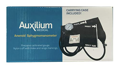 Auxilium Medical High Blood Pressure Monitor Machine - Essential Medical Supplies for Doctors or Nurses - Adult Size Black Kit with Manual Cuff