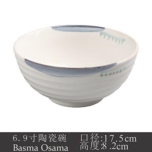 YUWANW La République De Corée, À La Maison De Fleur Créatif Disque Céramique 7 Pouces Bac À Plat De l'art Peint À La Main des Assiettes en Céramique Bac Légumes Disque, Un Bol De Riz Blanc 6,9 Pouce