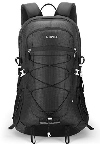 HOMIEE バックパック リュックサック 登山 リュック 45L バック 多機能 大容量 花見 防災 遠足 軽量 撥水 旅行 男女兼用 アウトドア ハイキング (ブラック)