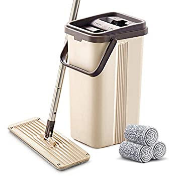 BOOMJOY Microfiber Flat Mop with Bucket Cleaning Squeeze Hand Free Floor Mop 3 Reusable Mop Pads Stainless Steel Handle