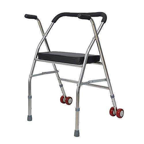 Z-SEAT Andador médico de Dos Ruedas con Asiento, Bastidor de pie Carro para Ancianos El Anciano Puede Andar Caminante Plegable para Ayudar a Caminar