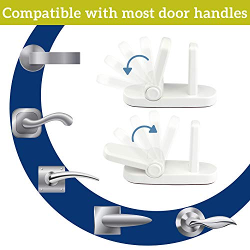 Improved Childproof Door Lever Lock (4 Pack) Prevents Toddlers From Opening Doors. Easy One Hand Operat   ion for Adults. Durable ABS with 3M Adhesive Backing. Simple Install, No Tools Needed (White, 4)