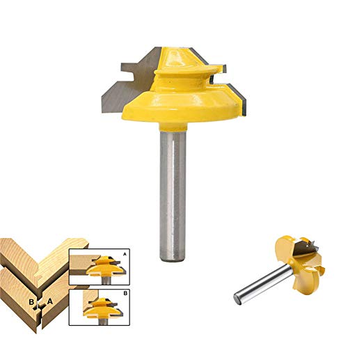 YWKOW 1/4 Shank 1-3/8 Diameter 45 Degree Lock Miter Router Bit Wood Cutter for Woodworking Drilling Power Tools