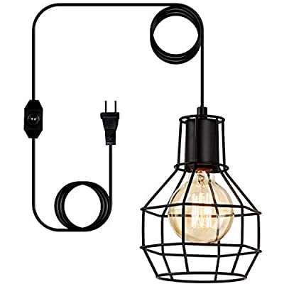 LIGHTESS Dimmable Pendant Lights with Plug in Cord and ON/Off Dimmer Switch Industrial Black Hanging Light Fixture Vintage Wire Cage Lighting for Kitchen Dining Room, LG9284881