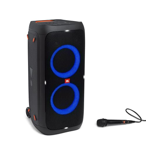 JBL PartyBox 310MC Altavoz inalámbrico portátil Bluetooth con efectos de luces y micrófono, resistente al agua conforme al índice IPX4, hasta 18h de reproducción, negro