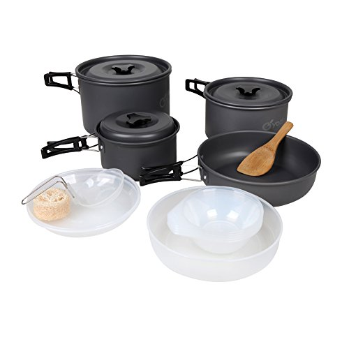yodo Anodized Aluminum Camping Cookware Set Backpacking Pans...