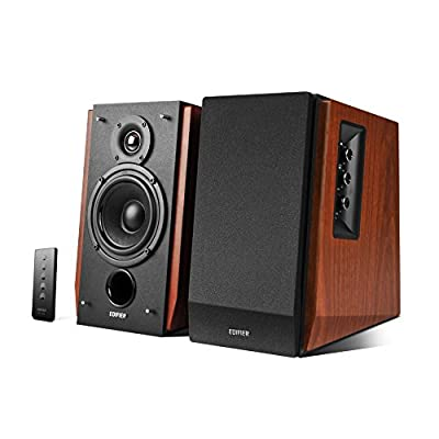 Edifier R1700BT Bookshelf Active Speakers with Bluetooth, RCA/AUX Input, EQ Control and Remote Control - Brown from KOMQI