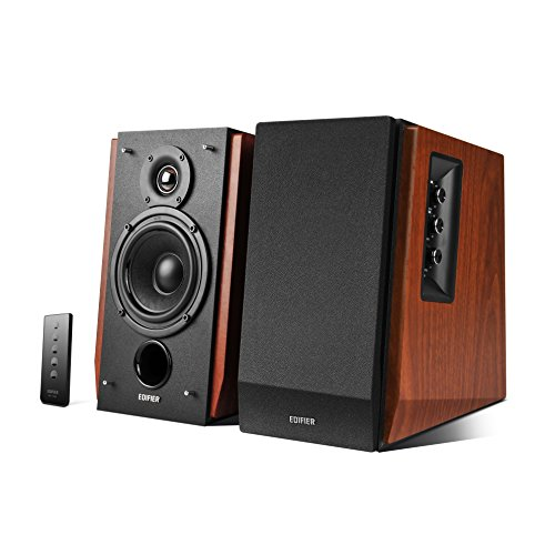 EDIFIER Studio R1700BT - Sistema de altavoces 2.0 (66 Vatios) con Bluetooth y mando a distancia, color marrón