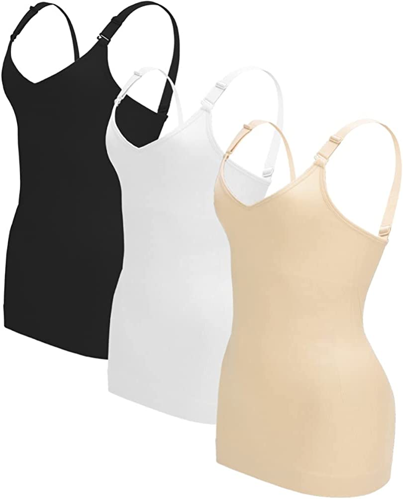 OLCHEE Women's 3PACK Shapewear Tank Tops Tummy Control - Seamless Slimming Body Shaper Top Regular and Plus Size at  Women's Clothing store