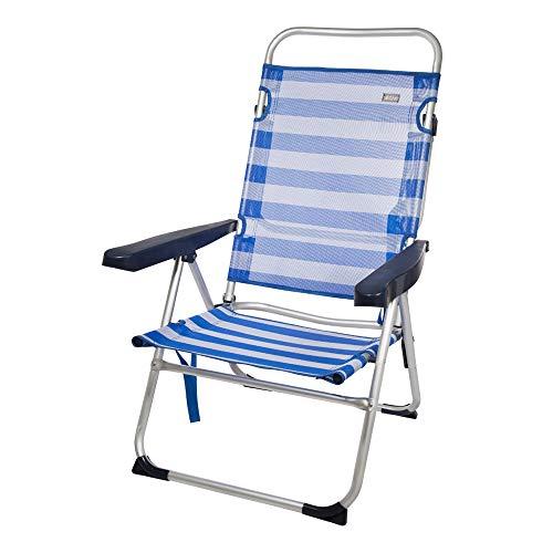 Aktive 53956 Silla Plegable multiposición Aluminio Beach, 50 x 64 x 100 cm, Azul