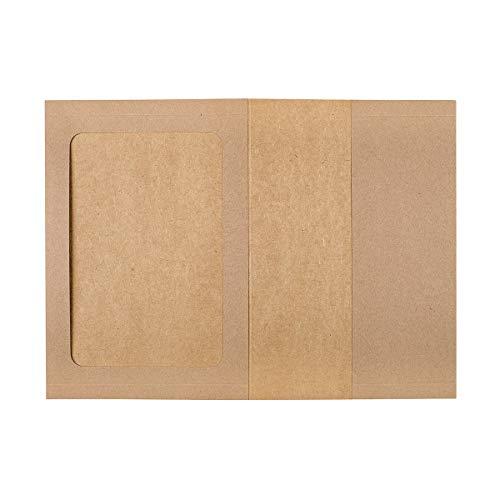 Fotomappe, Sammelmappe 15,6 x 21,5 cm mit Passepartout und Einstecktasche, Kraftkarton, für Fotos, Bilder, Dokumente - 10er Pack