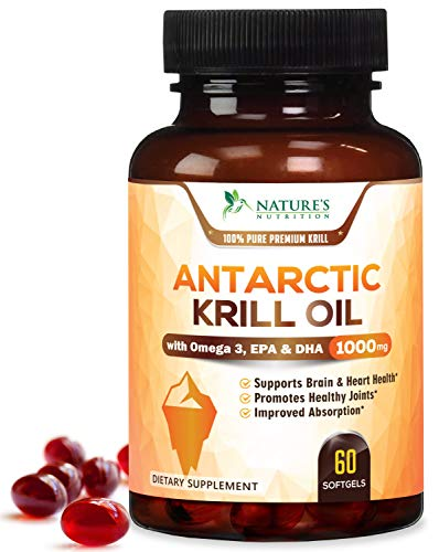 Antarctic Krill Oil Supplement 1000mg Purity Tested Krill w/Omega 3, EPA, DHA & Astaxanthin - Made in USA - Heart, Joint, and Brain Support, Non-GMO, No Fishy Aftertaste - 60 Softgels
