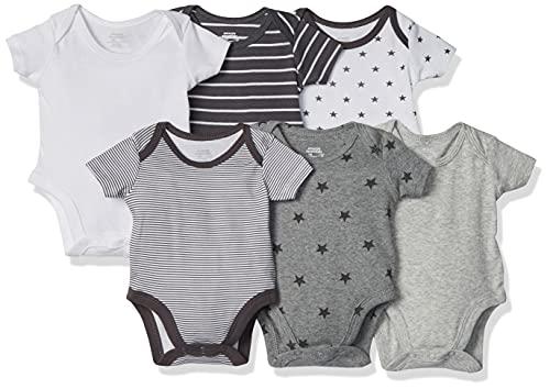 Amazon Essentials Body a maniche corte, Confezione da 6, Uni Star Stripe Neutral, Prematuro