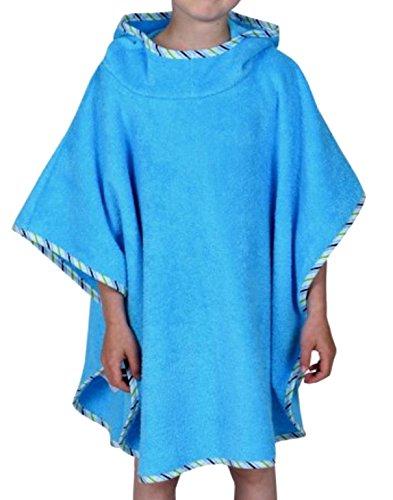 WÖRNER Gant Bébé Poncho de bain bébé 120 x 75 cm versch. Uni-Ball couleurs sans broderie avec capuche, Bleu turquoise, 120x75cm