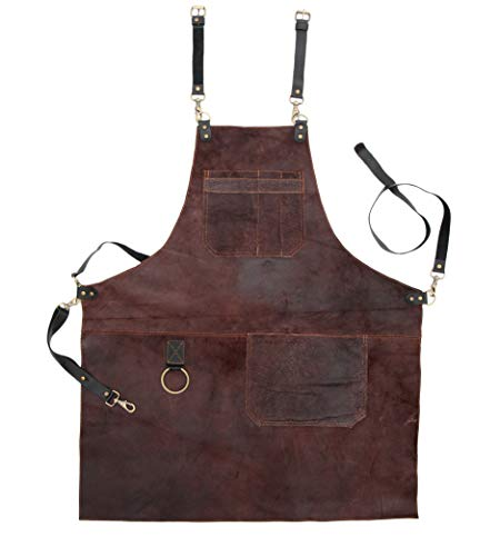 Real Leather Apron Brown Vintage Genuine Leather Body, Pockets - Adjustable (For Man / 35_30 inch)