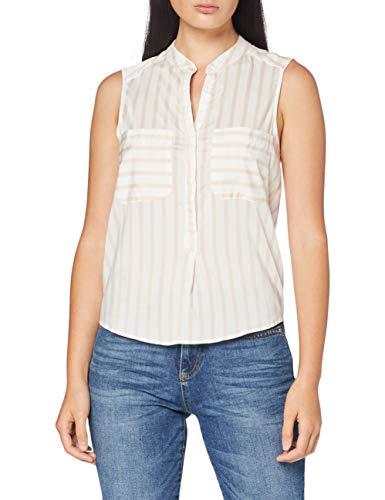 VERO MODA Damen VMERIKA S/L Stripe Shirt Color Bluse, Meerkat, XL