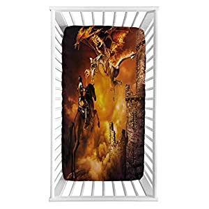 """Modern Fitted Crib Sheet,Kids Nursery with a Knight on a Horse Castle Mystic Fairytale Artwork Print Microfiber Silky Soft Toddler Mattress Sheet Fitted,28″x 52″x 8"""",Baby Sheet for Boys Girls"""